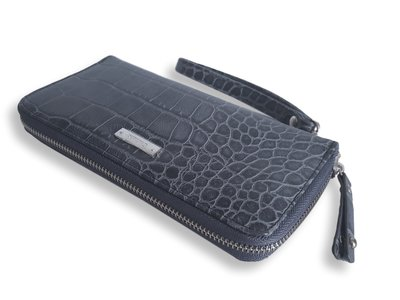 Croco portemonnee blue-grey